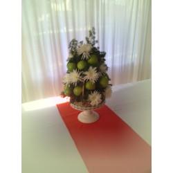 Centro flores y frutas